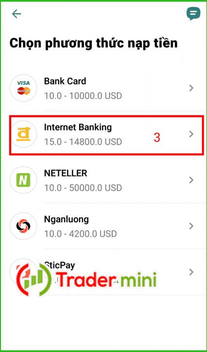 nạp tiền exness bằng internet banking