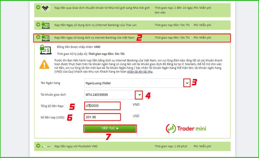 hướng dẫn cách nạp tiền vào tài khoản icmarkets bằng ví điện tử ngân lượng