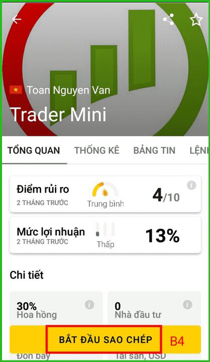 copy trade tại exness với chiến lược trader mini