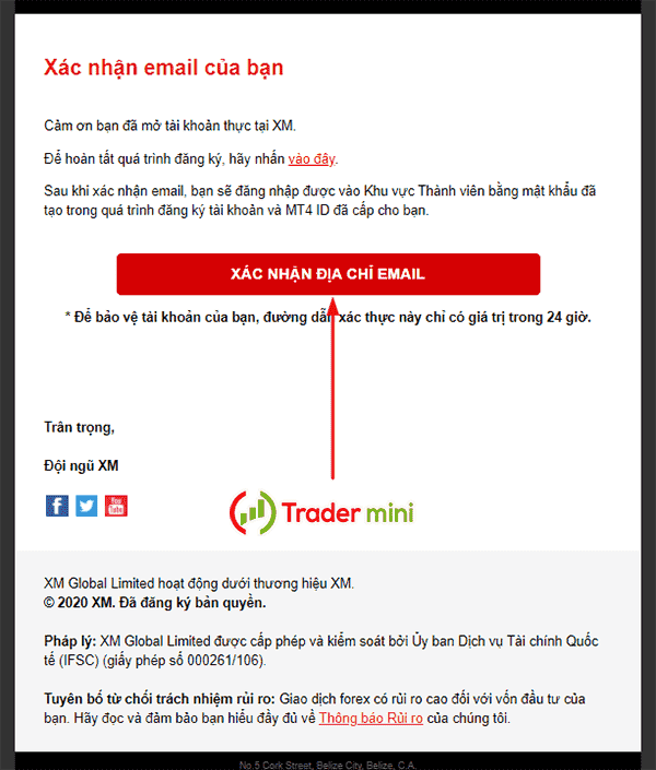 xác thực email xm