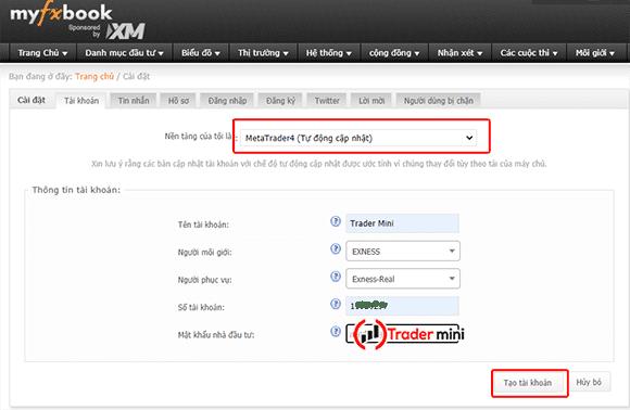 cập nhật metatrader4 và metatrader5 lên myfxbook